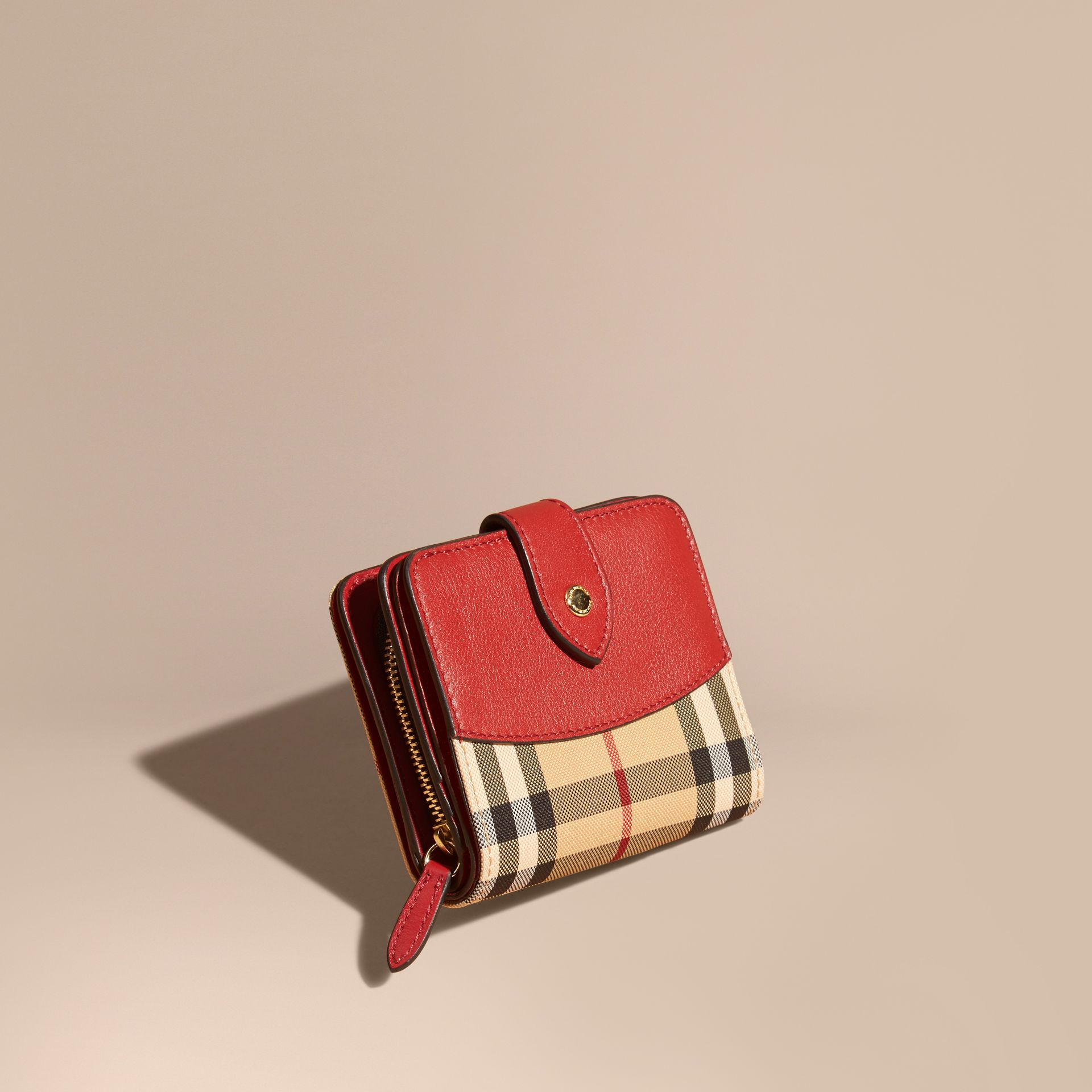 Horseferry Check and Leather Wallet Parade Red - gallery image 1