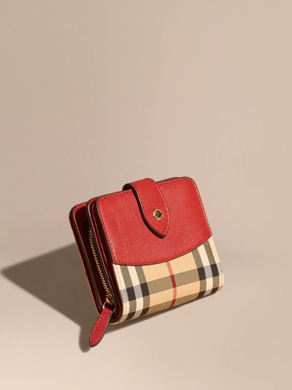Horseferry Check and Leather Wallet in Parade Red