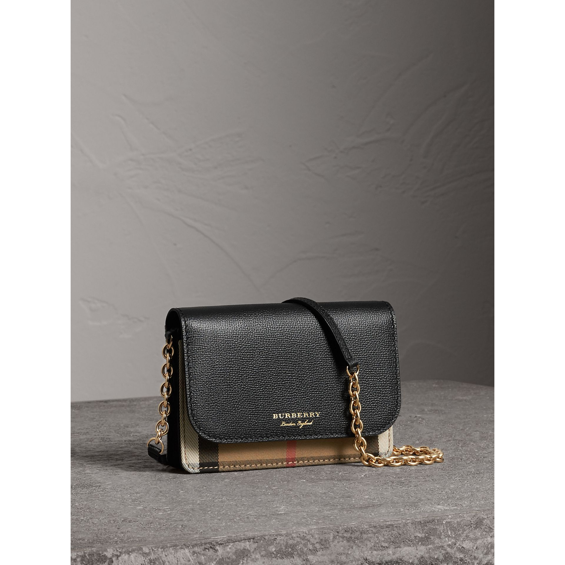 Leather and House Check Wallet with Detachable Strap in Black - Women | Burberry United States - gallery image 6