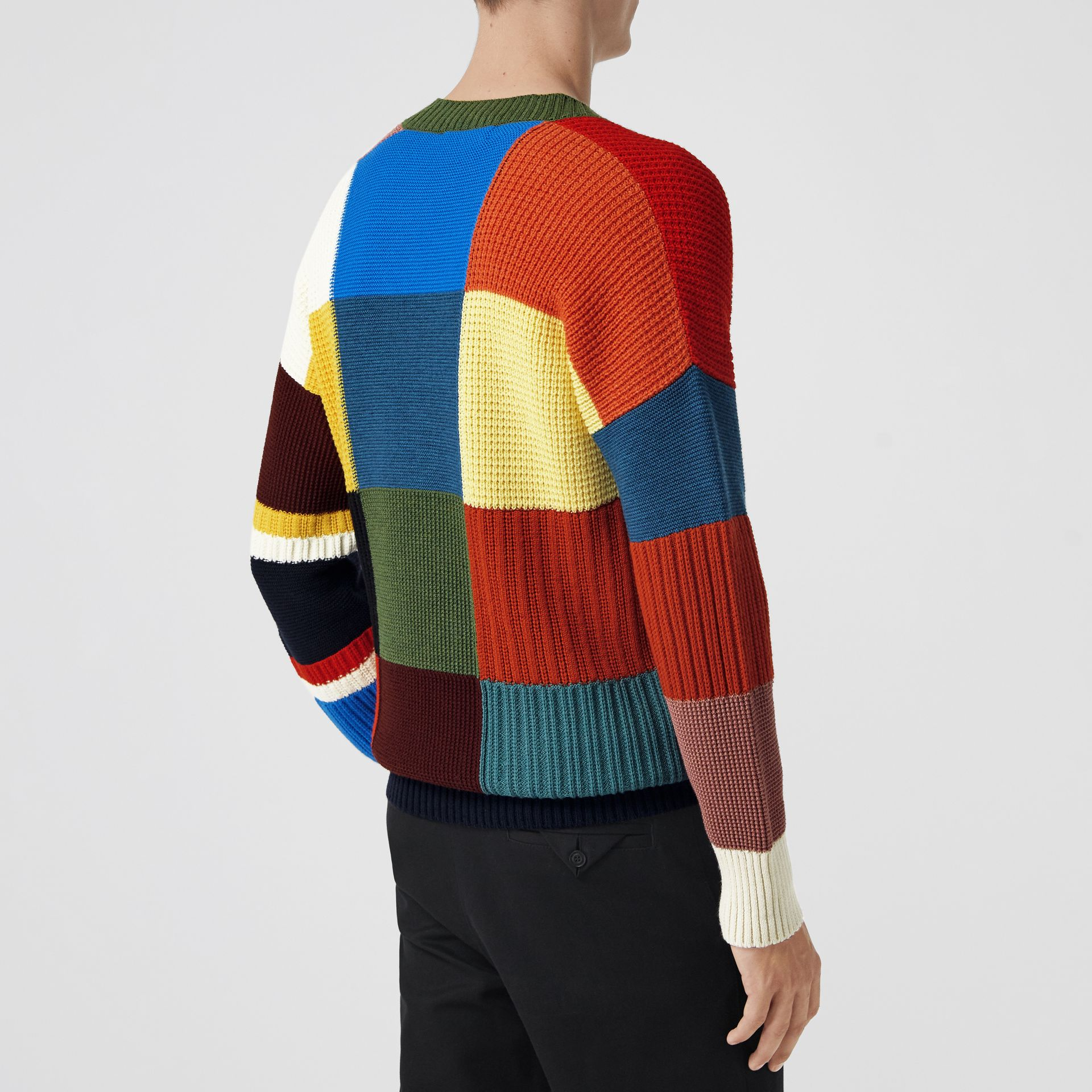 Patchwork Wool V-neck Sweater in Navy - Men | Burberry Australia - gallery image 2