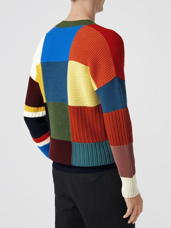Patchwork Wool V-neck Sweater in Navy - Men | Burberry Australia - cell image 2
