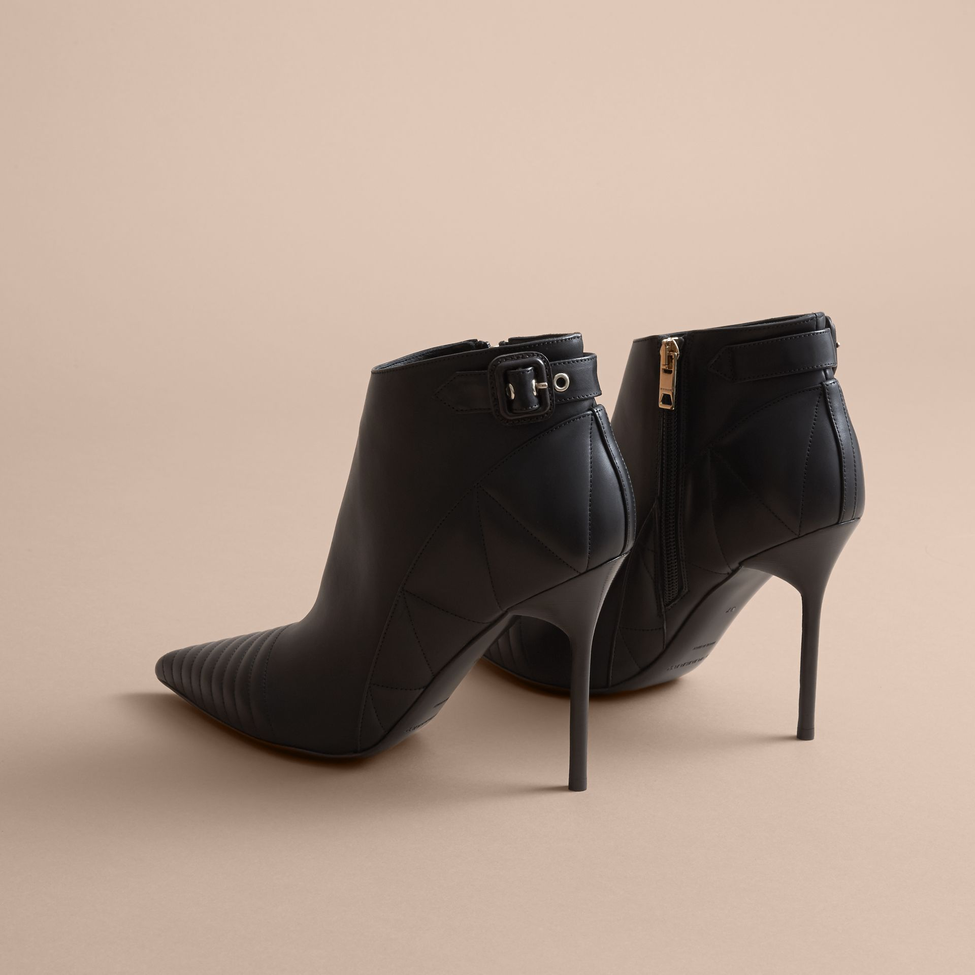 Quilted Leather Ankle Boots in Black - Women | Burberry - gallery image 4