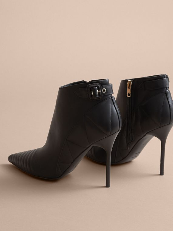 Quilted Leather Ankle Boots in Black - Women | Burberry - cell image 3