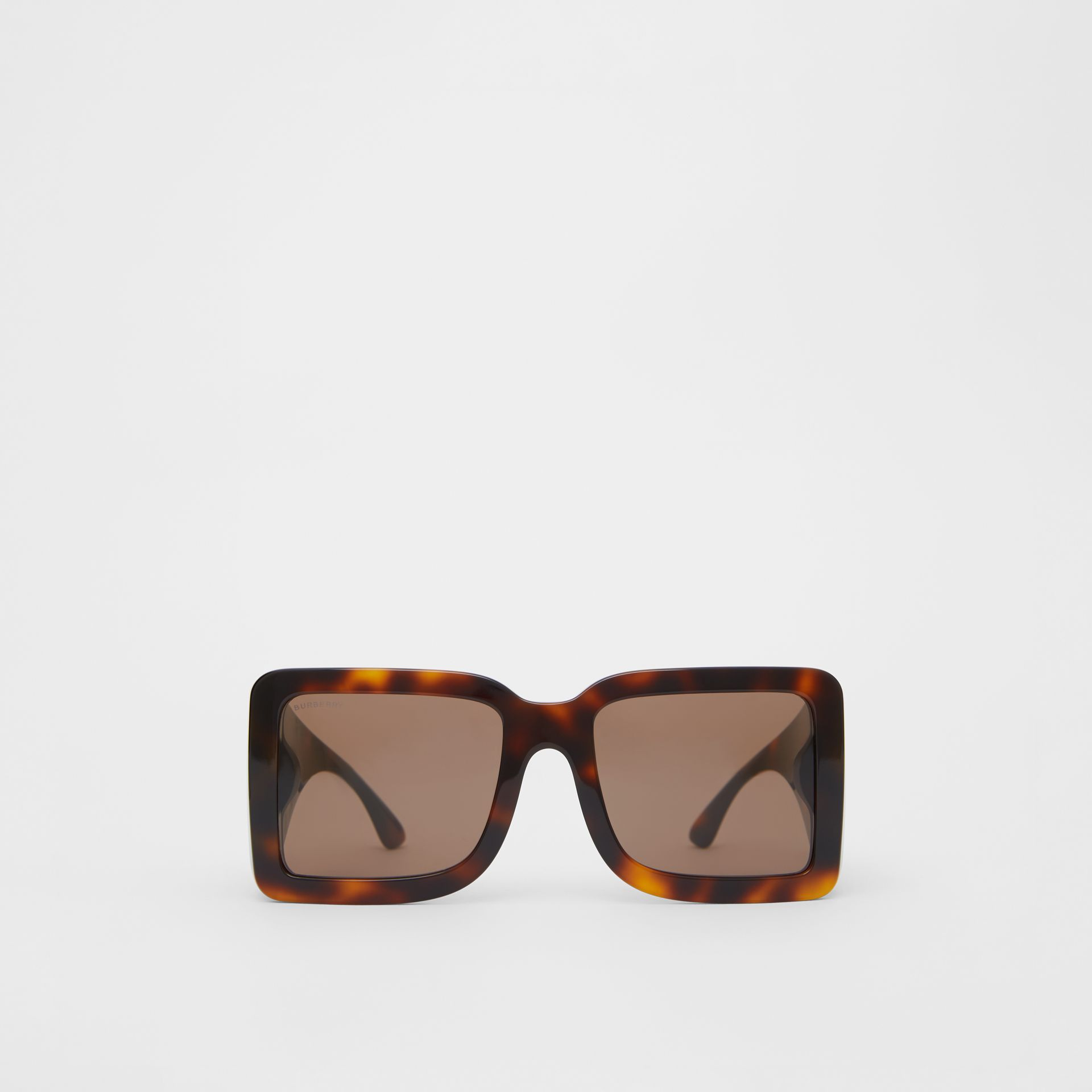 B Motif Square Frame Sunglasses in Tortoise Amber | Burberry United Kingdom - gallery image 0