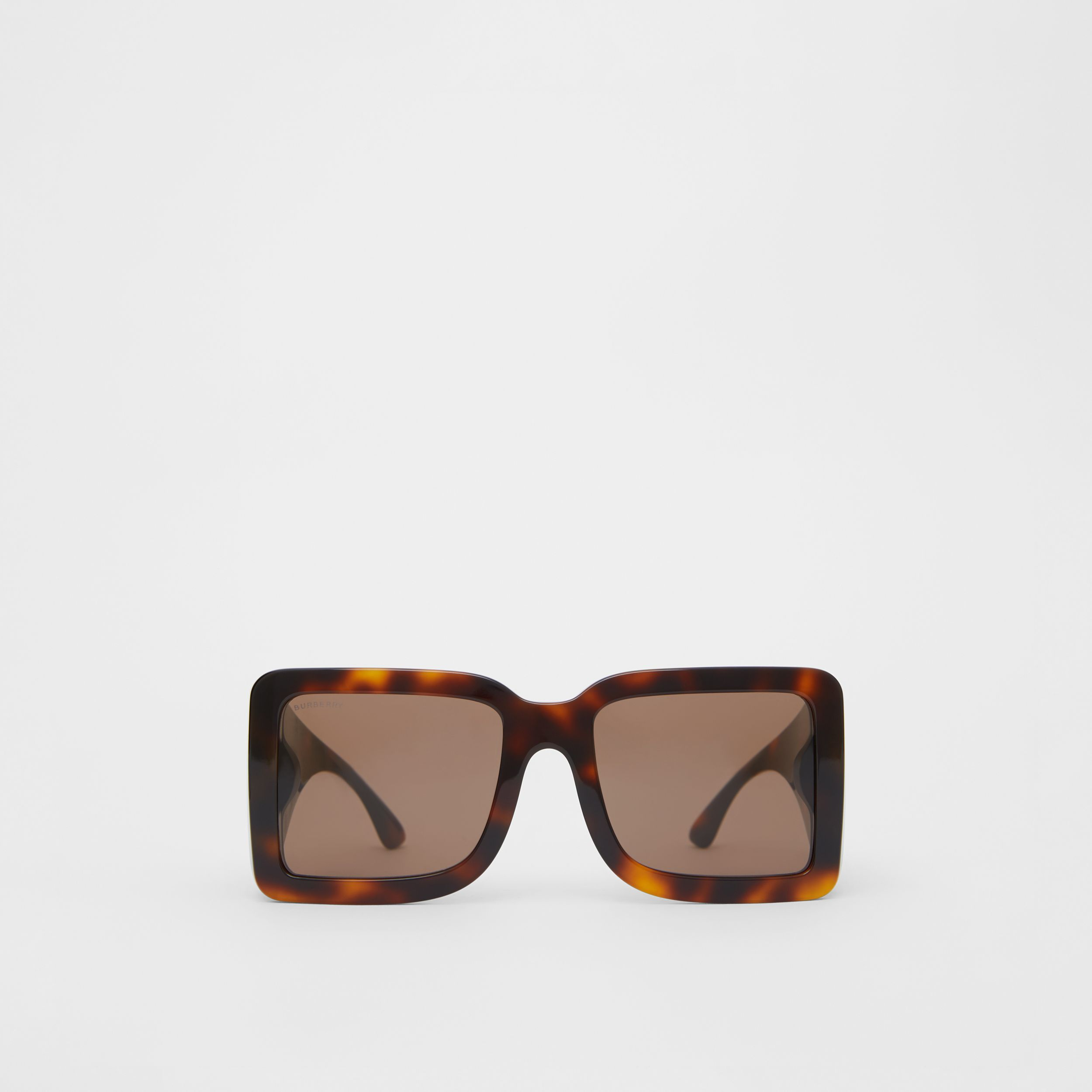 B Motif Square Frame Sunglasses in Tortoise Amber - Women | Burberry - 1