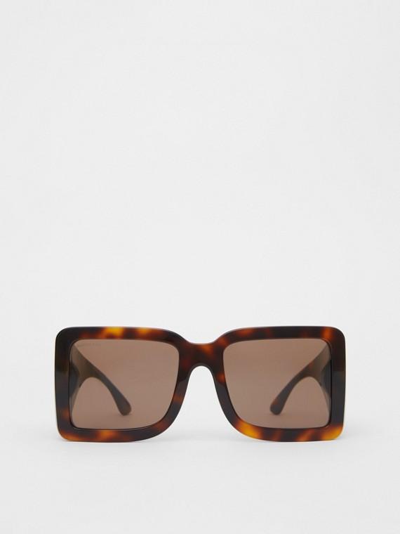 B Motif Square Frame Sunglasses in Tortoise Amber