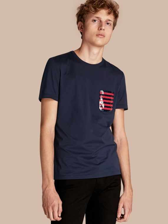 Cotton T-shirt with Sequin Stripe Detail Navy