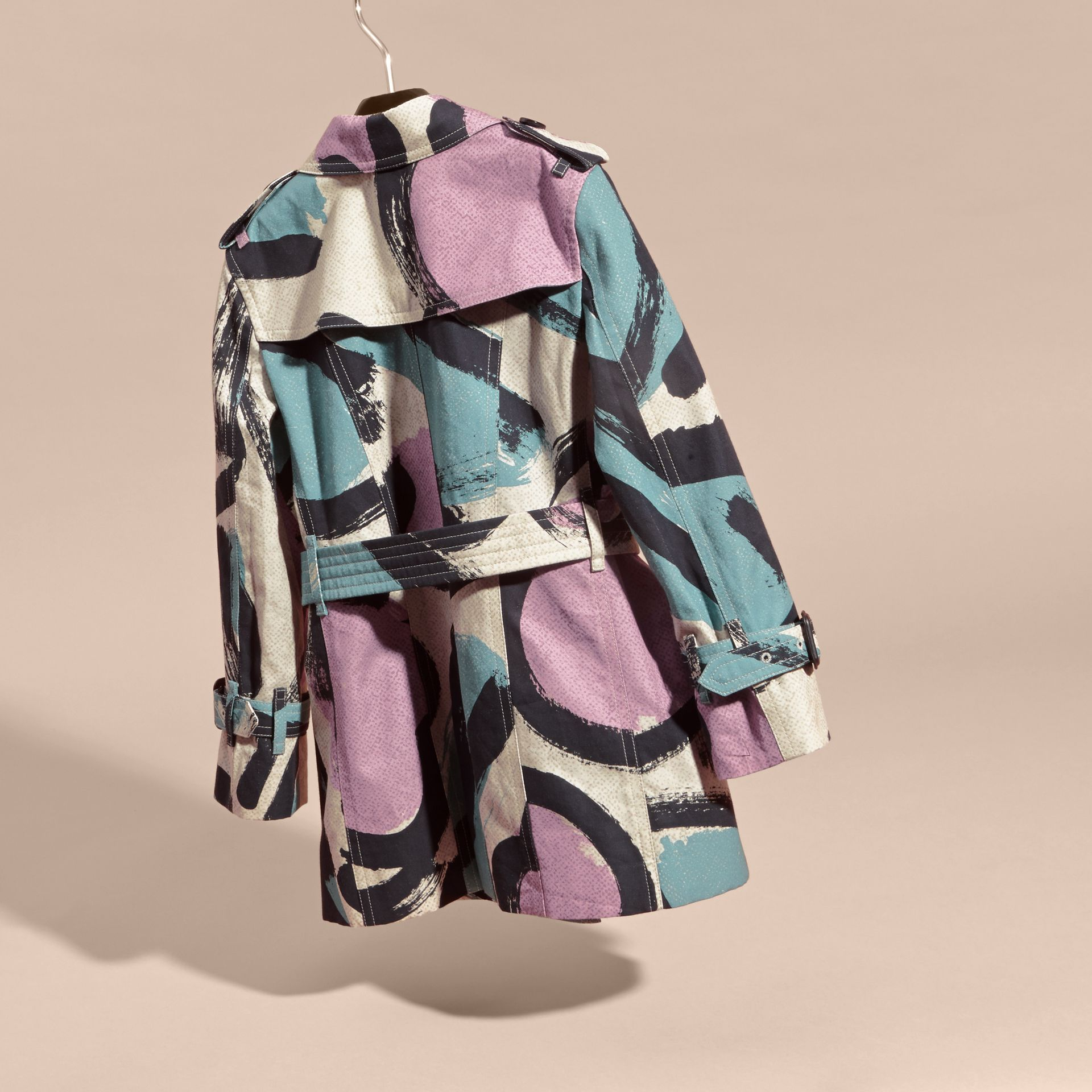 Graphic Print Cotton Trench Coat - gallery image 4