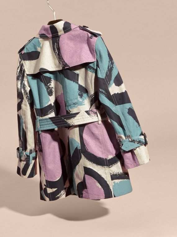Graphic Print Cotton Trench Coat - cell image 3