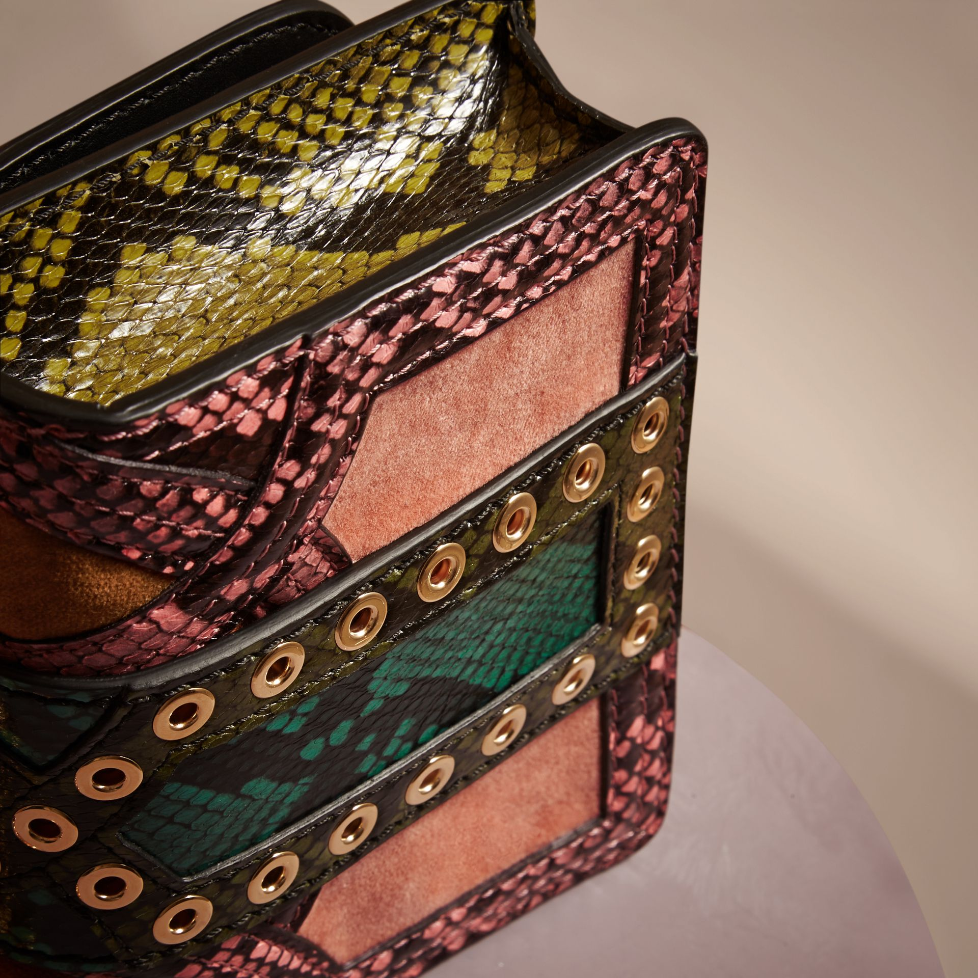 Rose pink The Mini Square Buckle Bag in Snakeskin and Velvet - gallery image 5