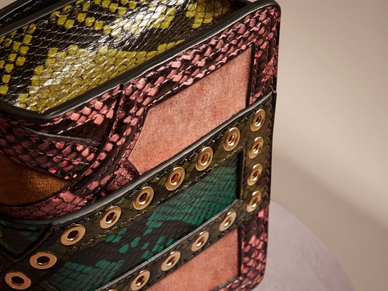 Rose pink The Mini Square Buckle Bag in Snakeskin and Velvet - cell image 4