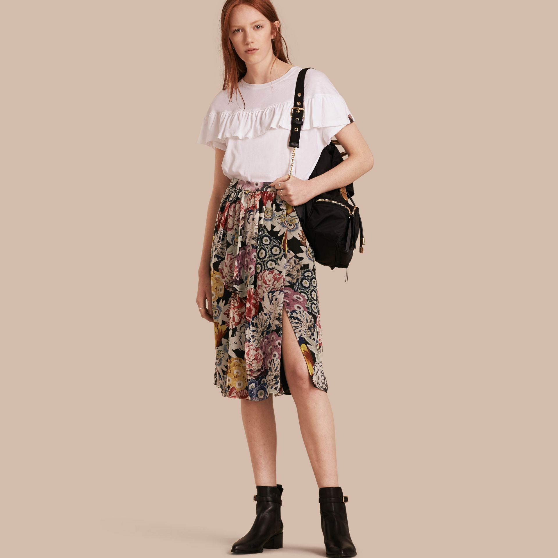 Black Gathered Floral Print Silk Skirt - gallery image 1