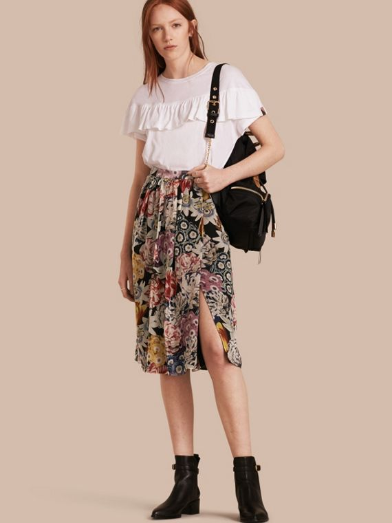 Gathered Floral Print Silk Skirt