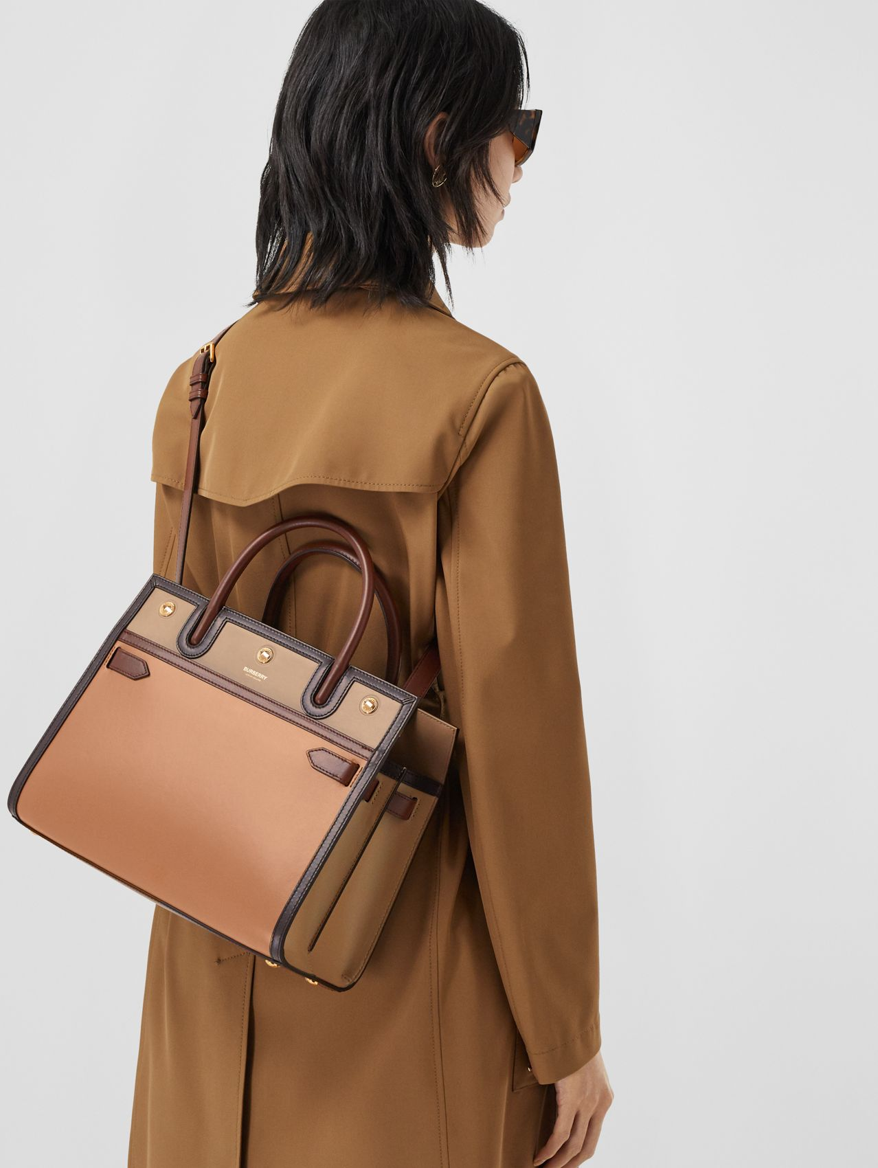 Small Leather Two-handle Title Bag (Soft Fawn)