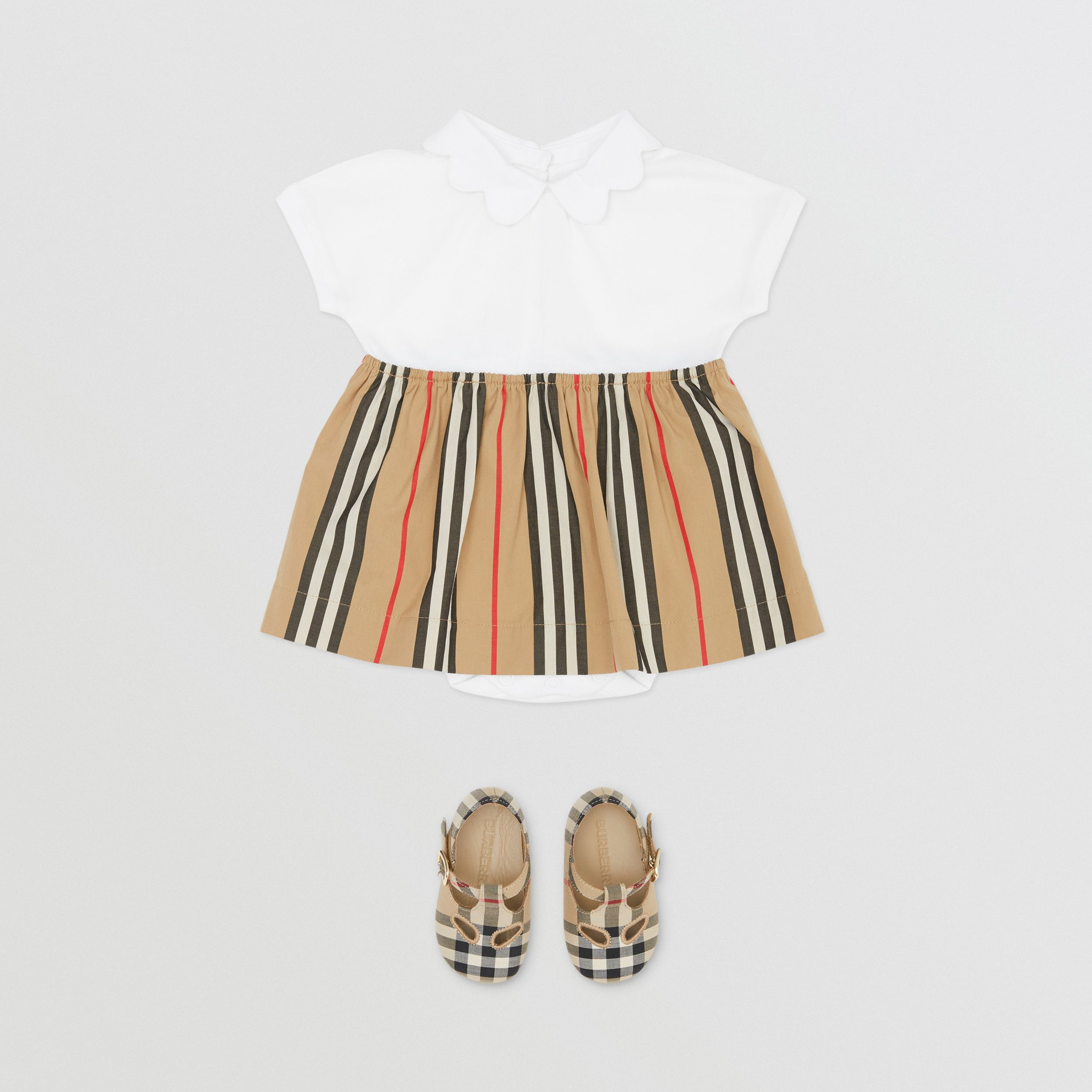 Icon Stripe Skirt Cotton Piqué Bodysuit in White - Children | Burberry - 3