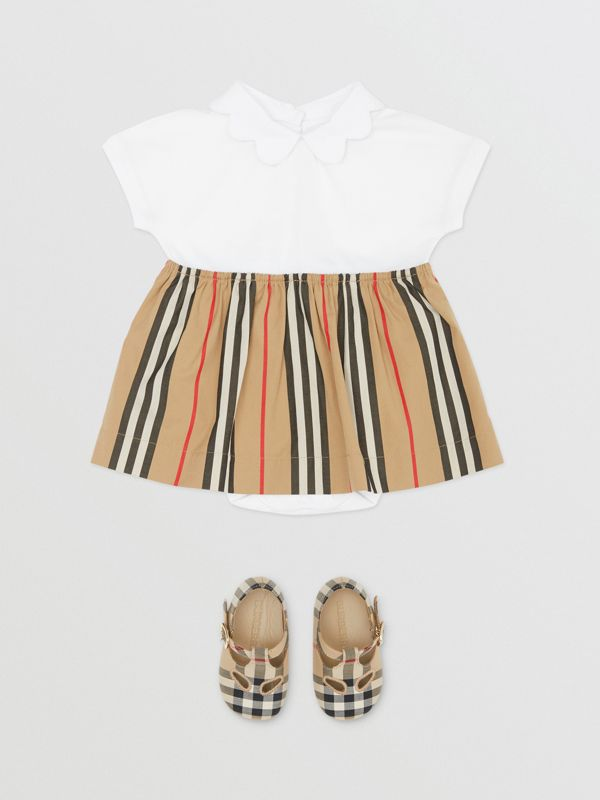 Icon Stripe Skirt Cotton Piqué Bodysuit in White - Children | Burberry United States - cell image 2