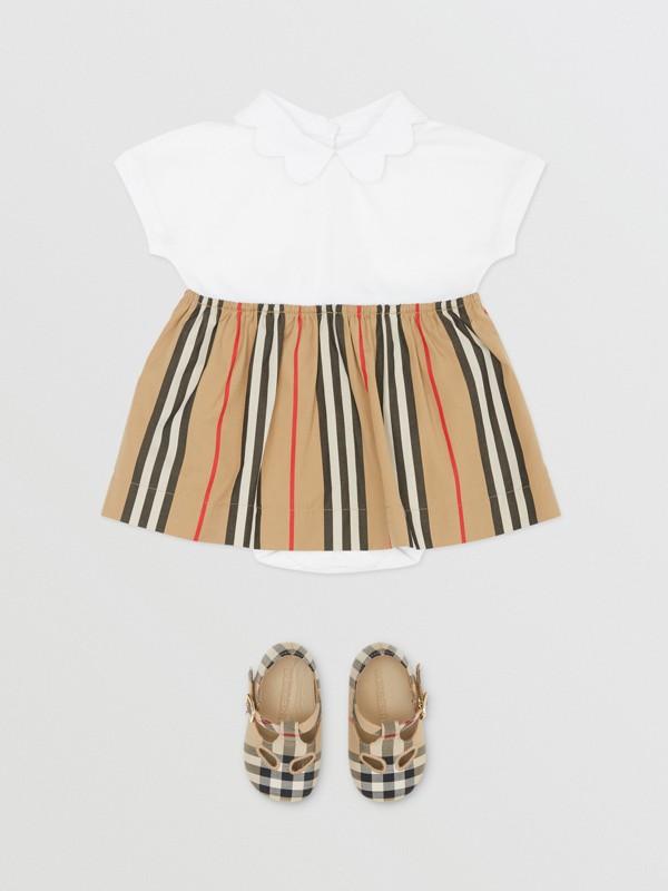 Icon Stripe Skirt Cotton Piqué Bodysuit in White - Children | Burberry United Kingdom - cell image 2