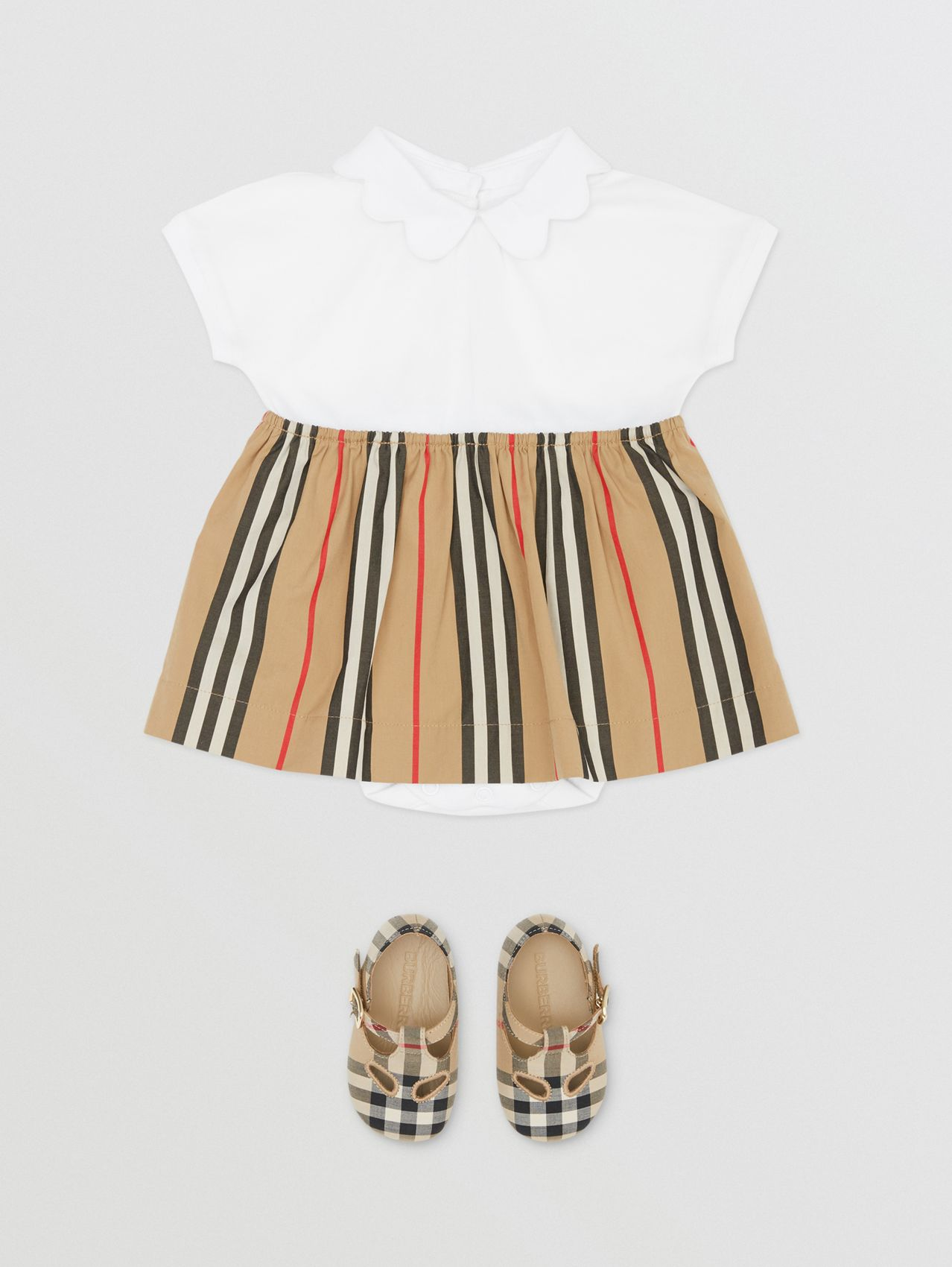 Icon Stripe Skirt Cotton Piqué Bodysuit in White