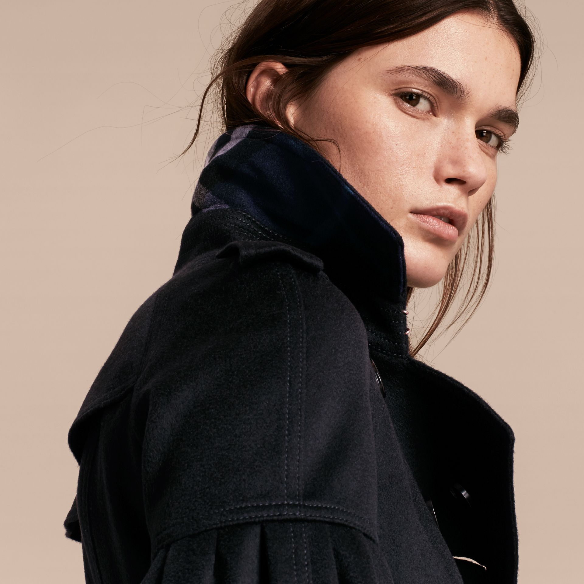 Navy Cashmere Trench Coat with Puff Sleeves Navy - gallery image 5