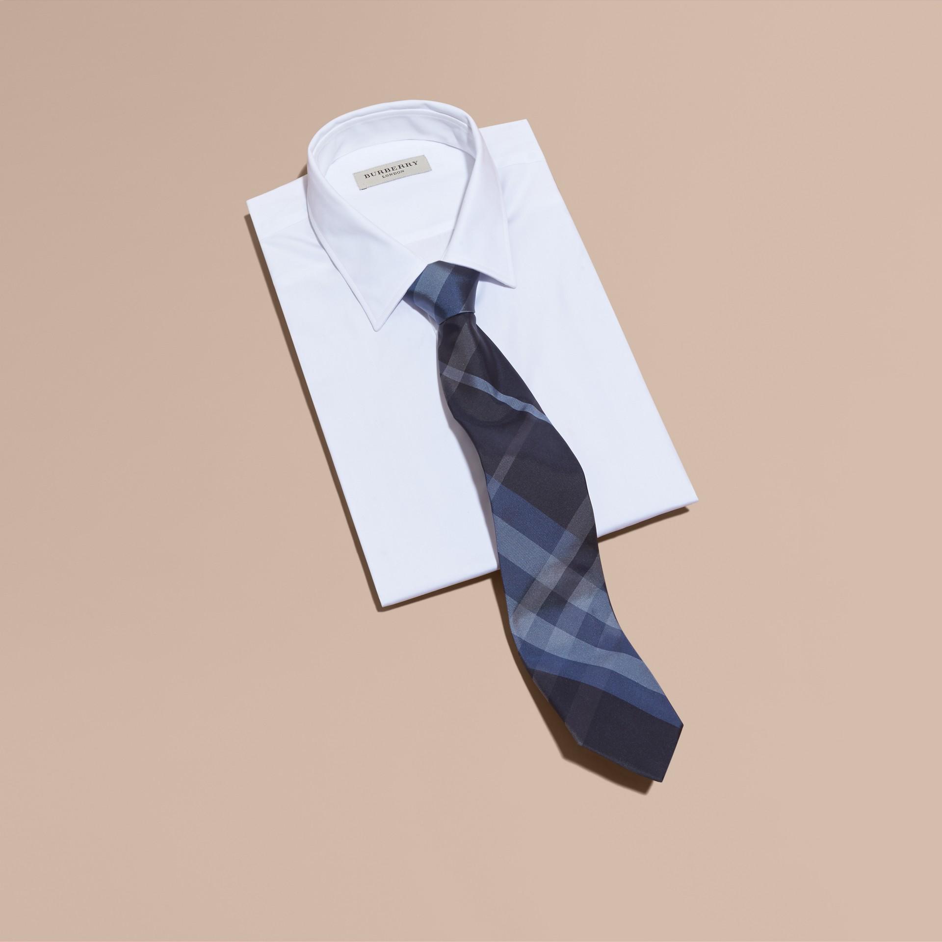 Hydrangea blue Classic Cut Check Silk Tie Hydrangea Blue - gallery image 3