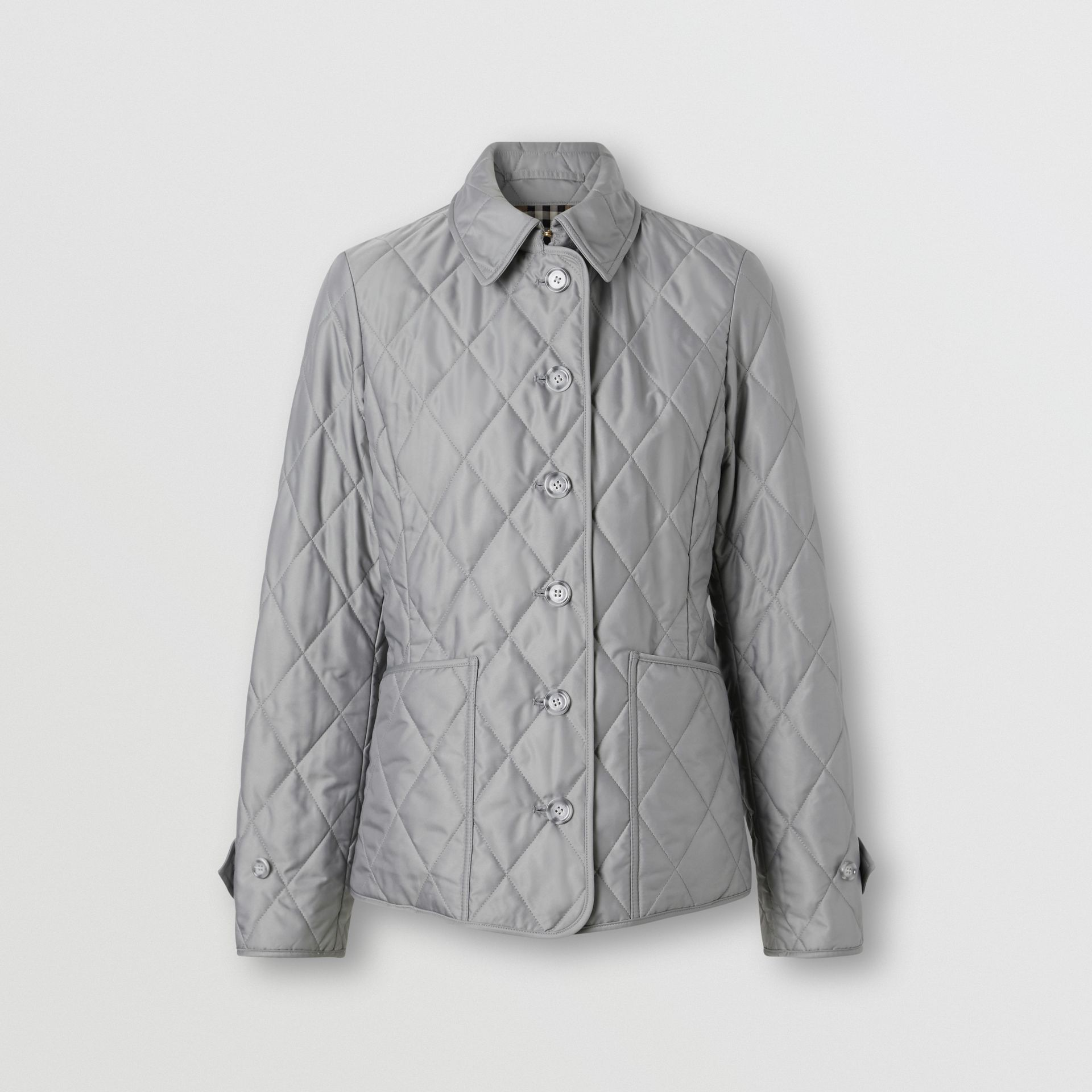Diamond Quilted Thermoregulated Jacket in Mid Grey - Women | Burberry - gallery image 3