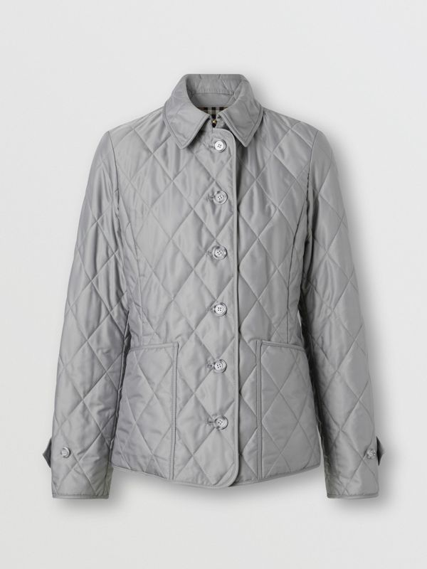 Diamond Quilted Thermoregulated Jacket in Mid Grey - Women | Burberry - cell image 3