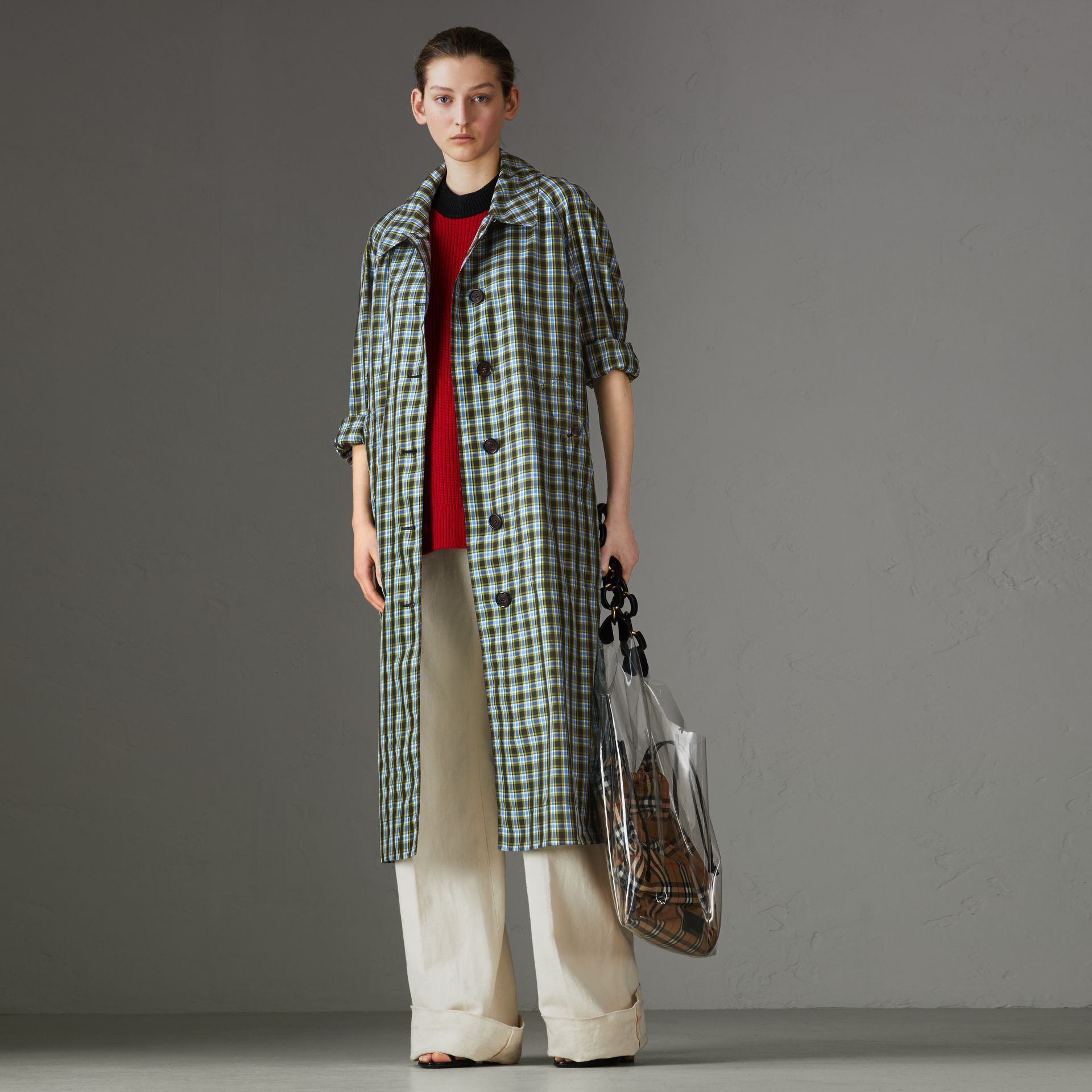 Lightweight Check Extra-long Car Coat in Azure Blue - Women | Burberry - gallery image 0