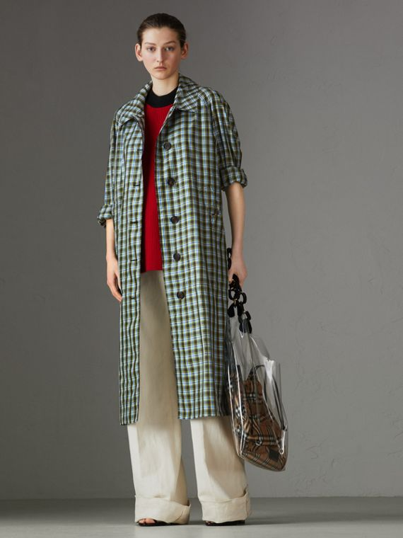 Lightweight Check Extra-long Car Coat in Azure Blue