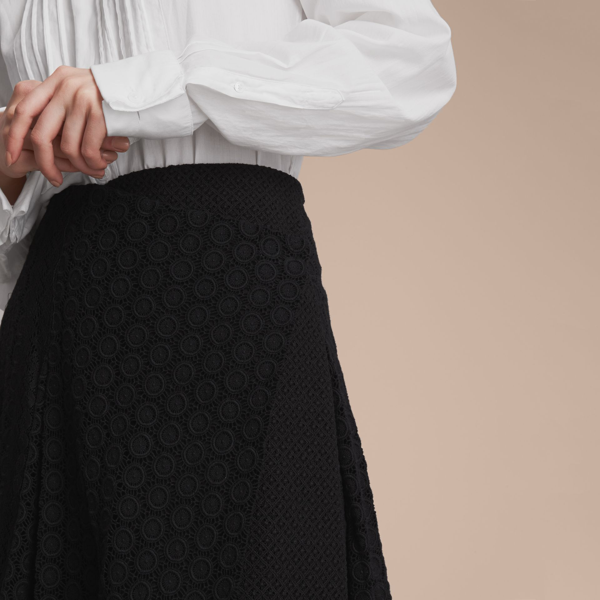 Mixed Lace Pleated Skirt in Black - Women | Burberry - gallery image 5