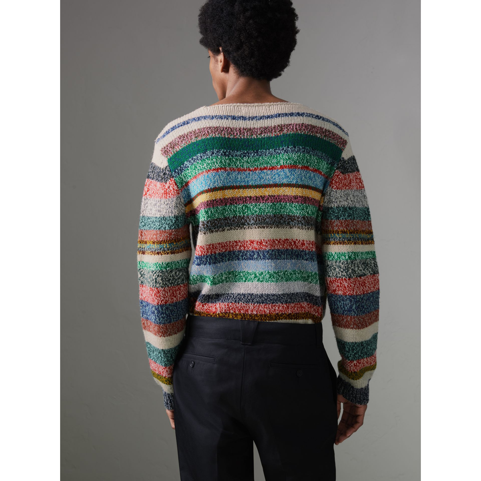 Striped Merino Wool Mouliné Sweater in Multicolour - Men | Burberry Australia - gallery image 2