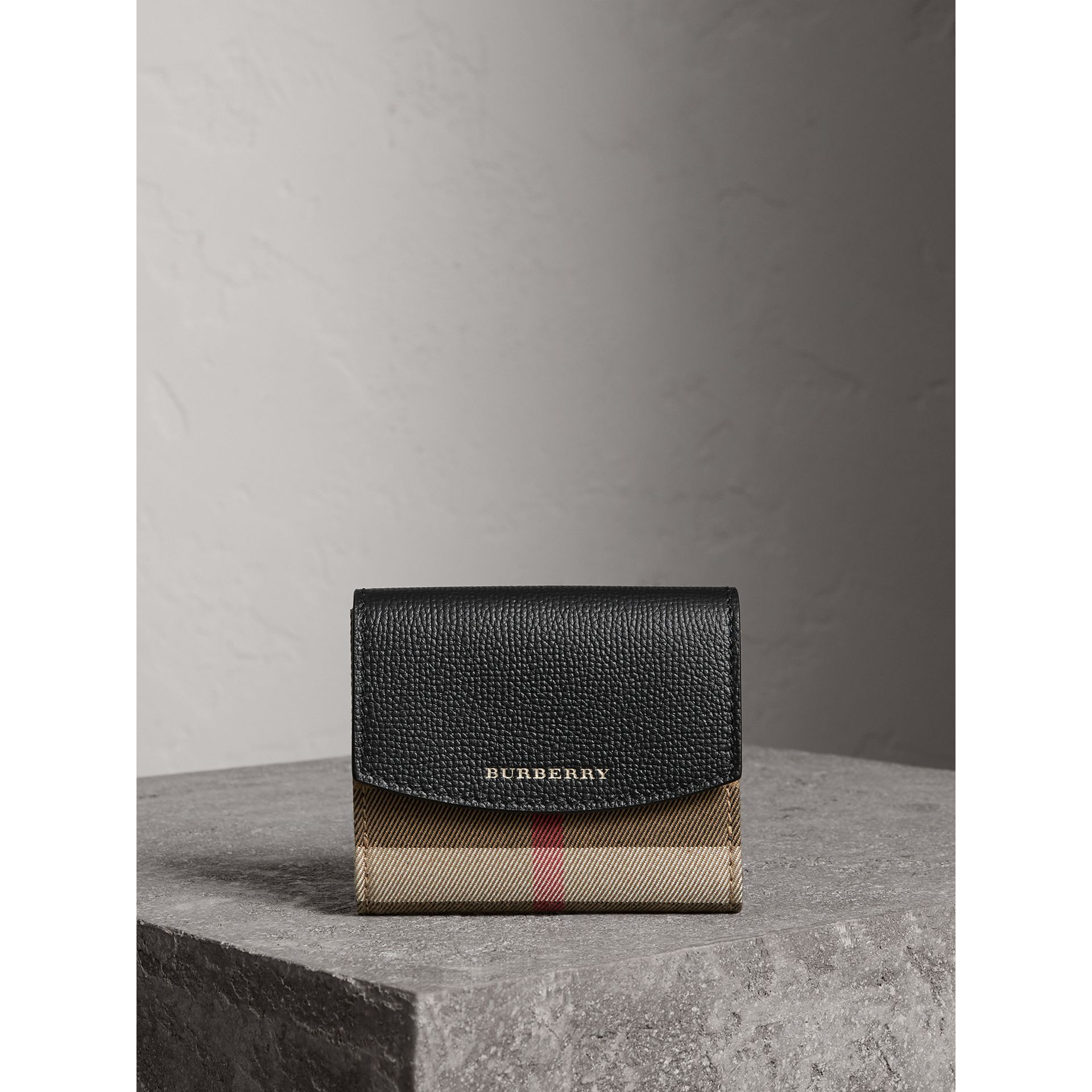 House Check and Leather Wallet in Black - Women | Burberry Singapore - gallery image 7