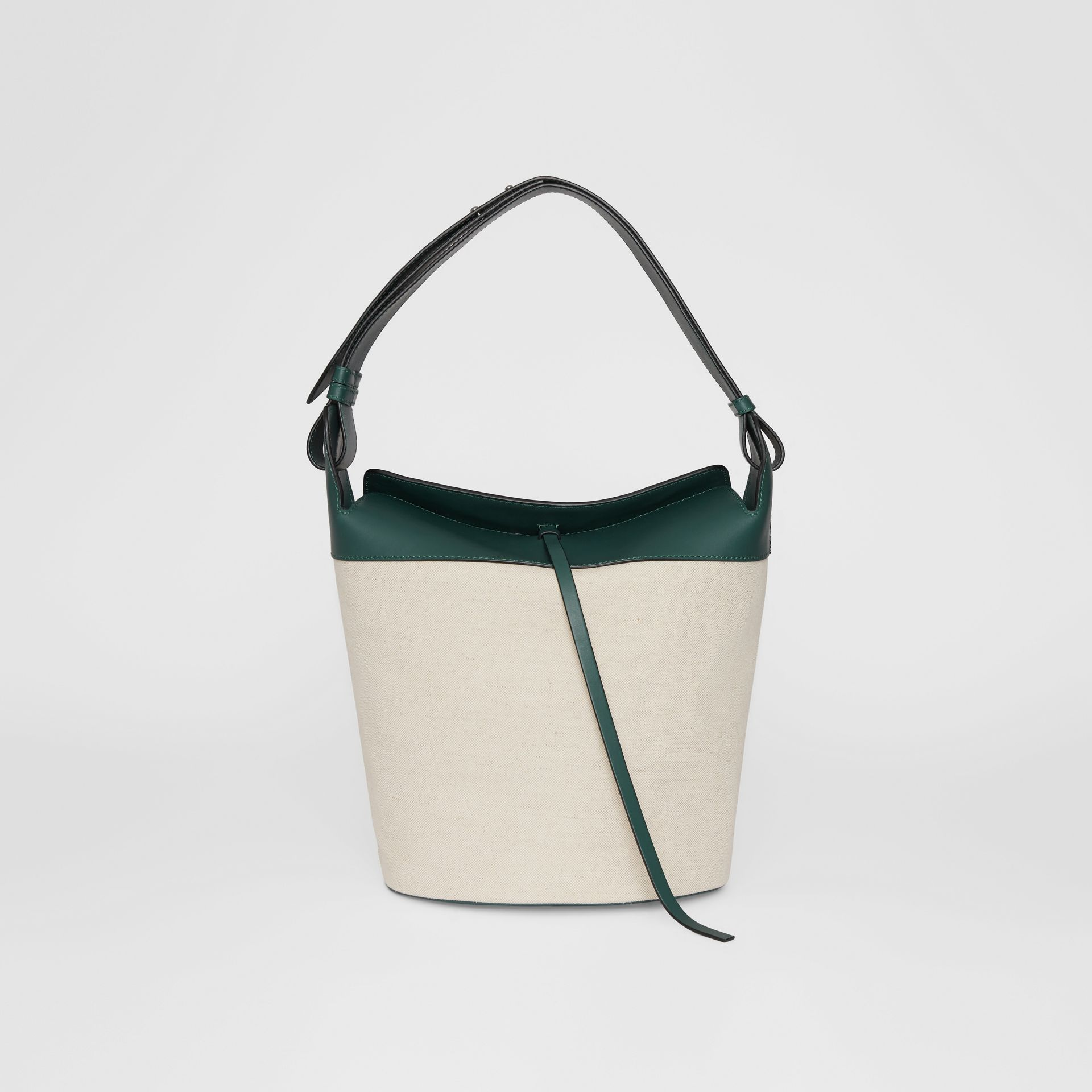Grand sac The Bucket en lin, coton et cuir (Cyan Foncé) - Femme | Burberry Canada - photo de la galerie 0