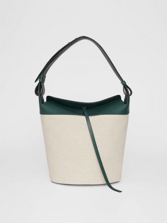 The Large Cotton Linen and Leather Bucket Bag in Dark Cyan