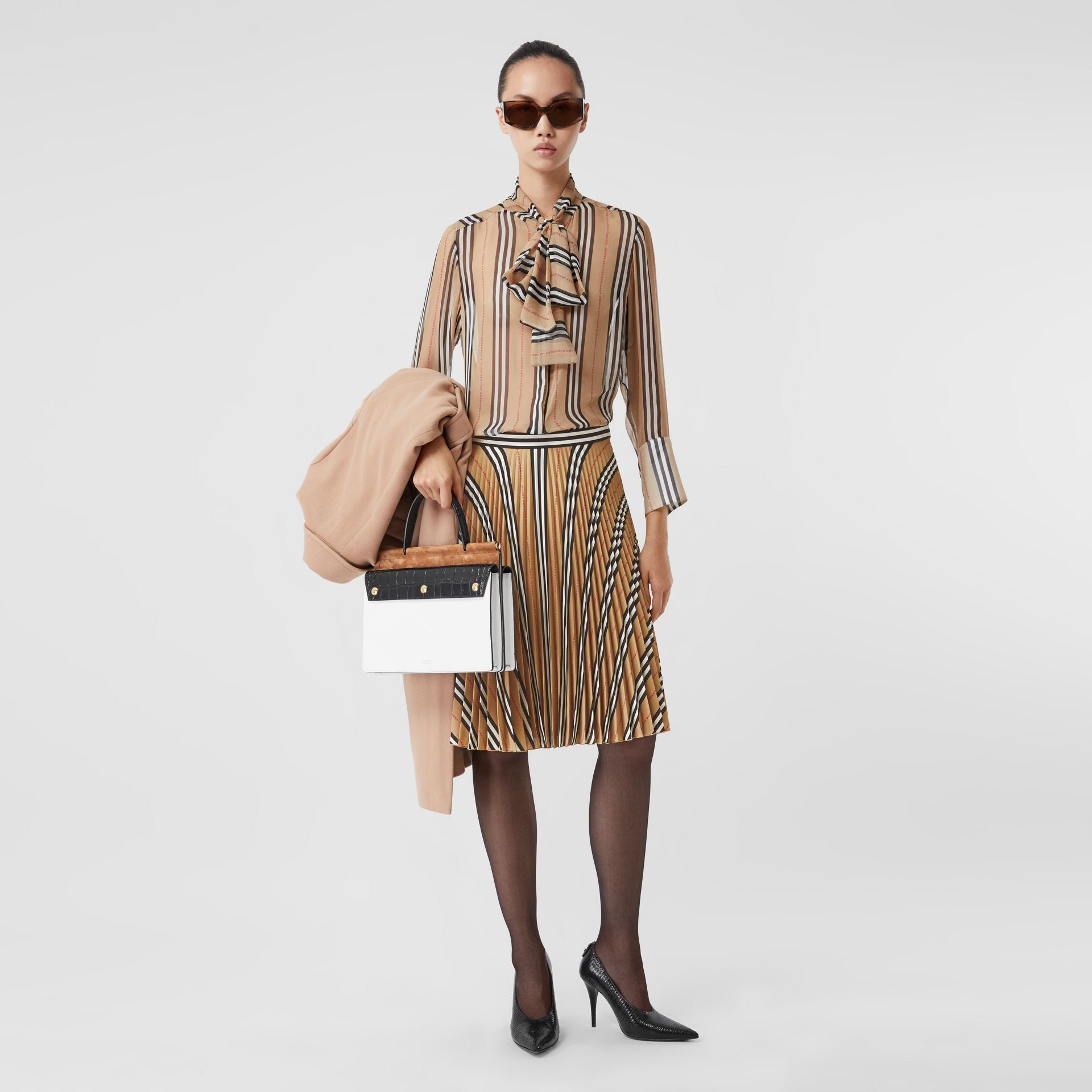 Logo and Stripe Print Crepe Pleated Skirt in Archive Beige - Women | Burberry - gallery image 0