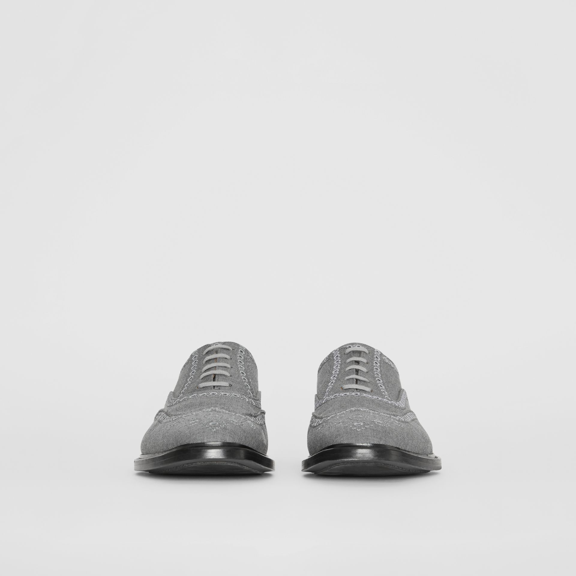 Embroidered Wool Brogues in Light Grey | Burberry United Kingdom - gallery image 3