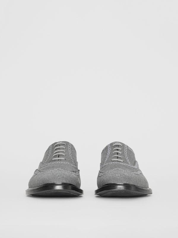 Embroidered Wool Brogues in Light Grey | Burberry United Kingdom - cell image 3