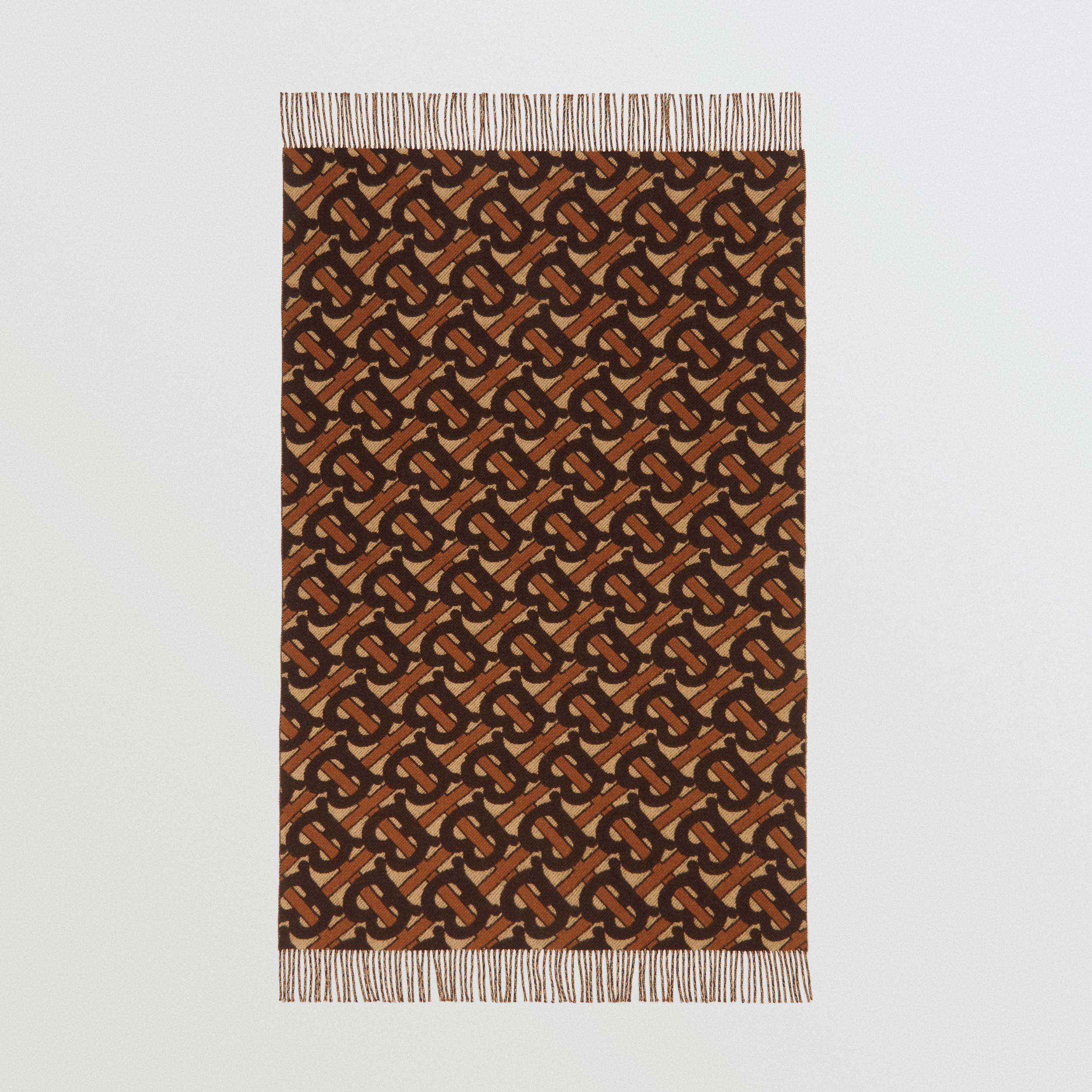 Monogram Merino Wool Cashmere Jacquard Blanket in Deep Brown | Burberry - 3