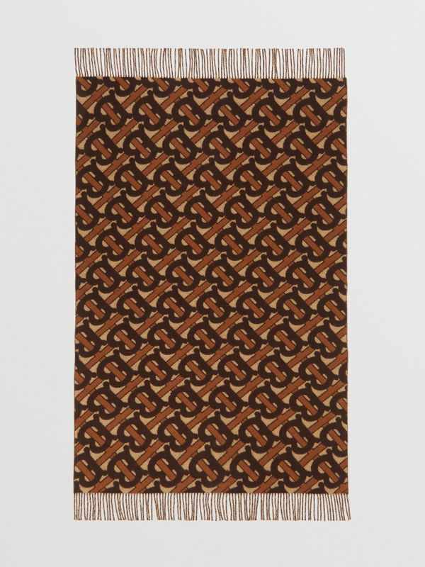 Monogram Merino Wool Cashmere Jacquard Blanket in Deep Brown | Burberry Hong Kong S.A.R - cell image 2