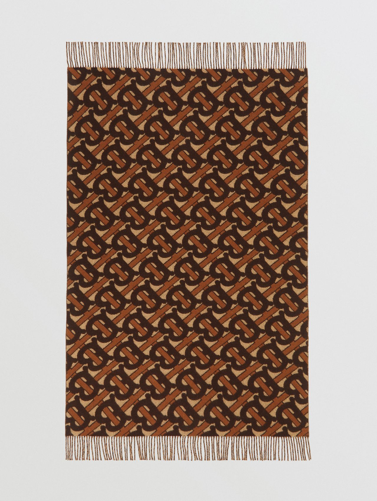 Monogram Merino Wool Cashmere Jacquard Blanket in Deep Brown