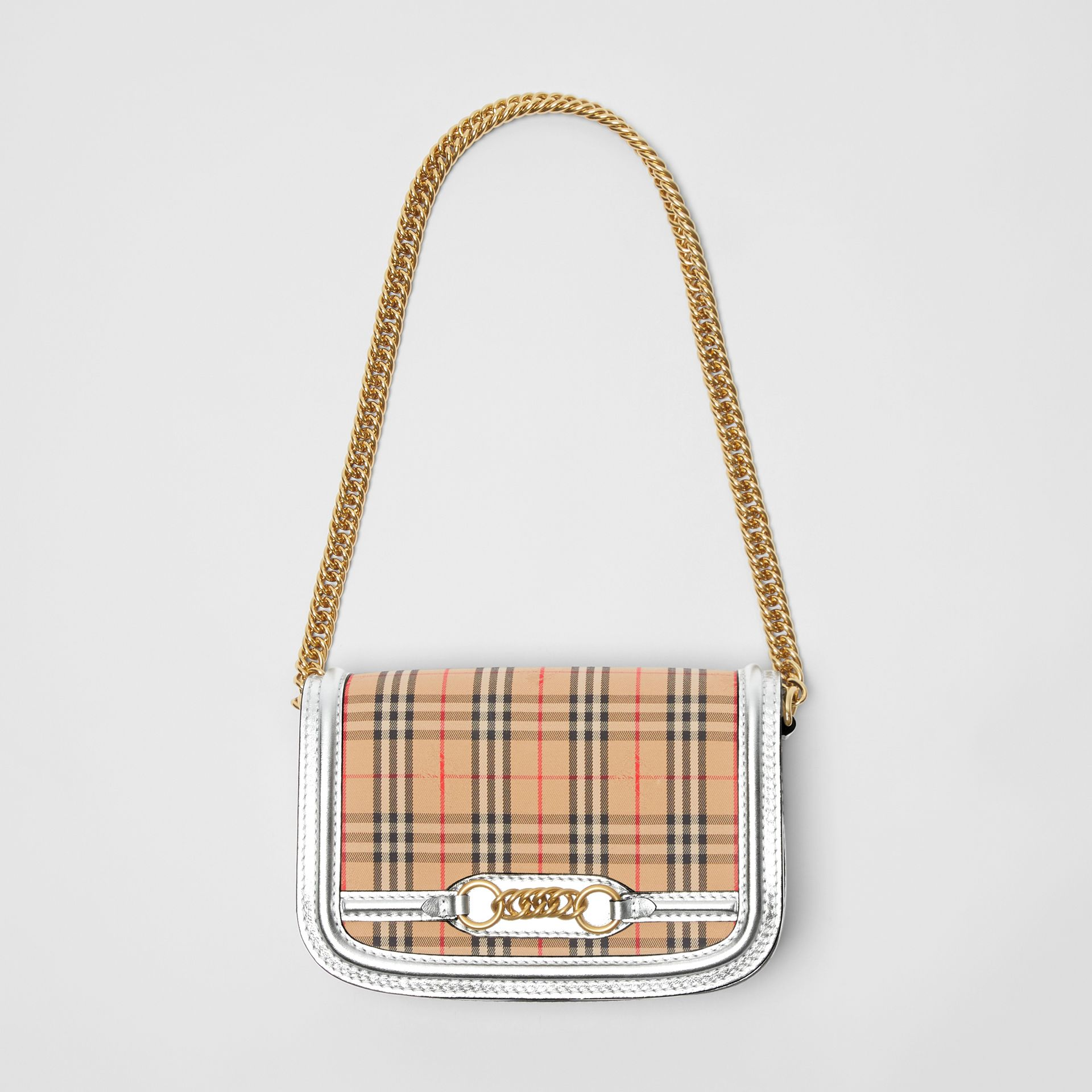 The 1983 Check Link Bag with Leather Trim in Silver - Women | Burberry United States - gallery image 4