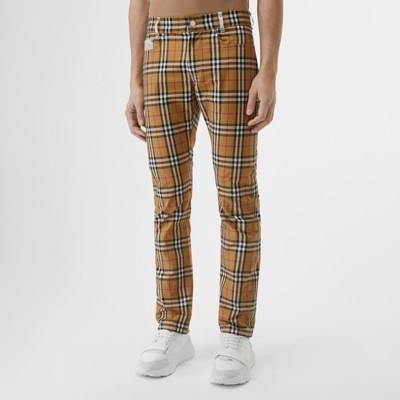 cuadros Amarillo Envejecido Pantalones Vintage en a algodón Hombre con Checks cremalleras Uxx7tq