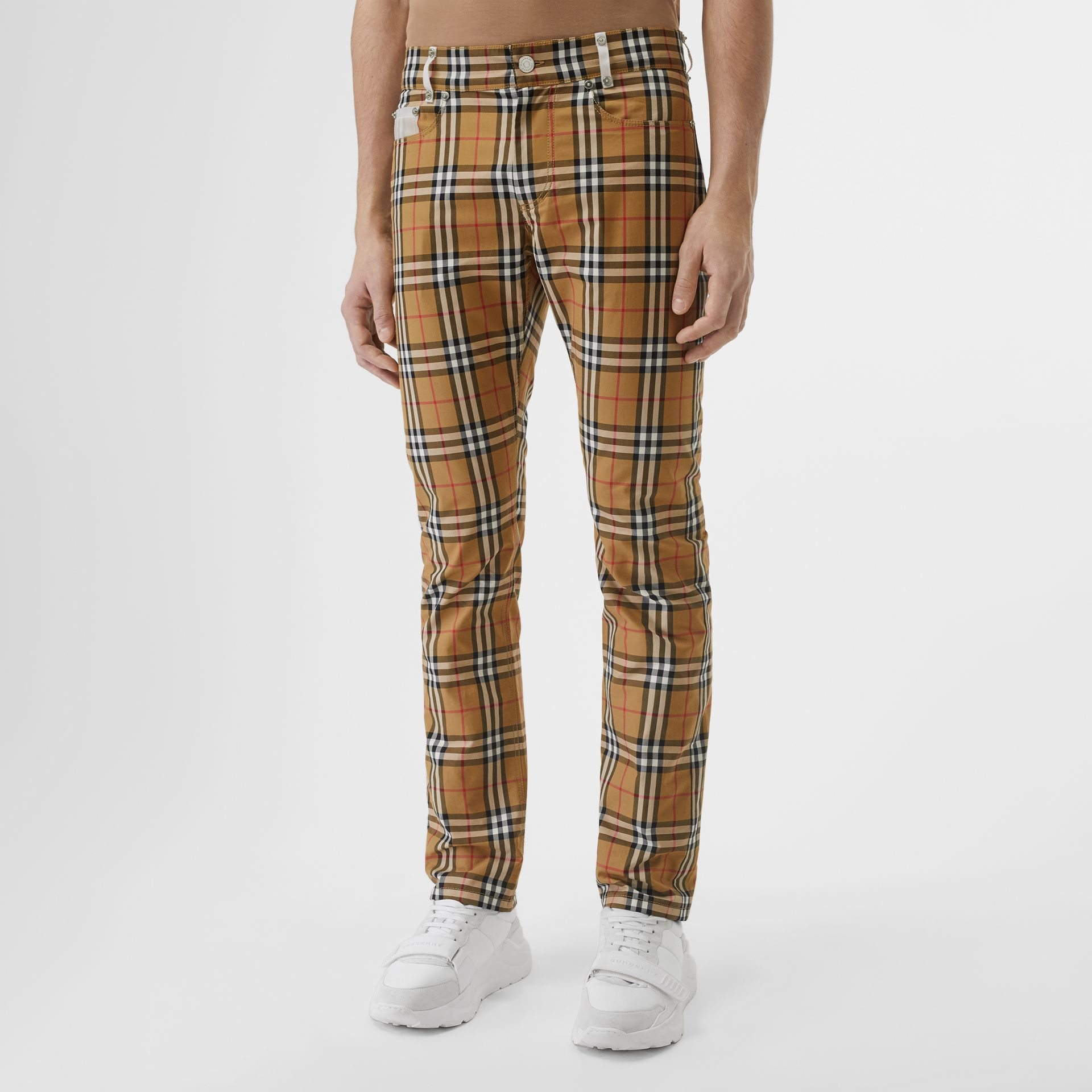 Zip Detail Vintage Check Cotton Trousers in Antique Yellow | Burberry - gallery image 1