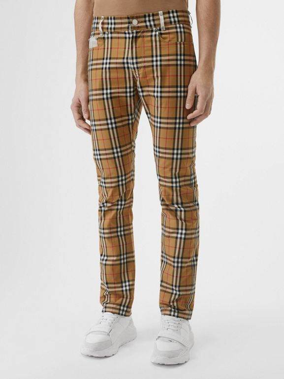 Zip Detail Vintage Check Cotton Trousers in Antique Yellow - Men | Burberry - cell image 1