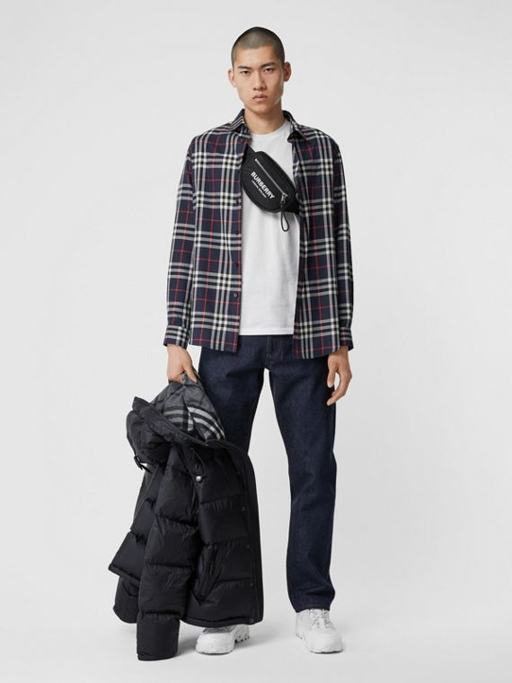 Vintage Check Cotton Flannel Shirt in Navy