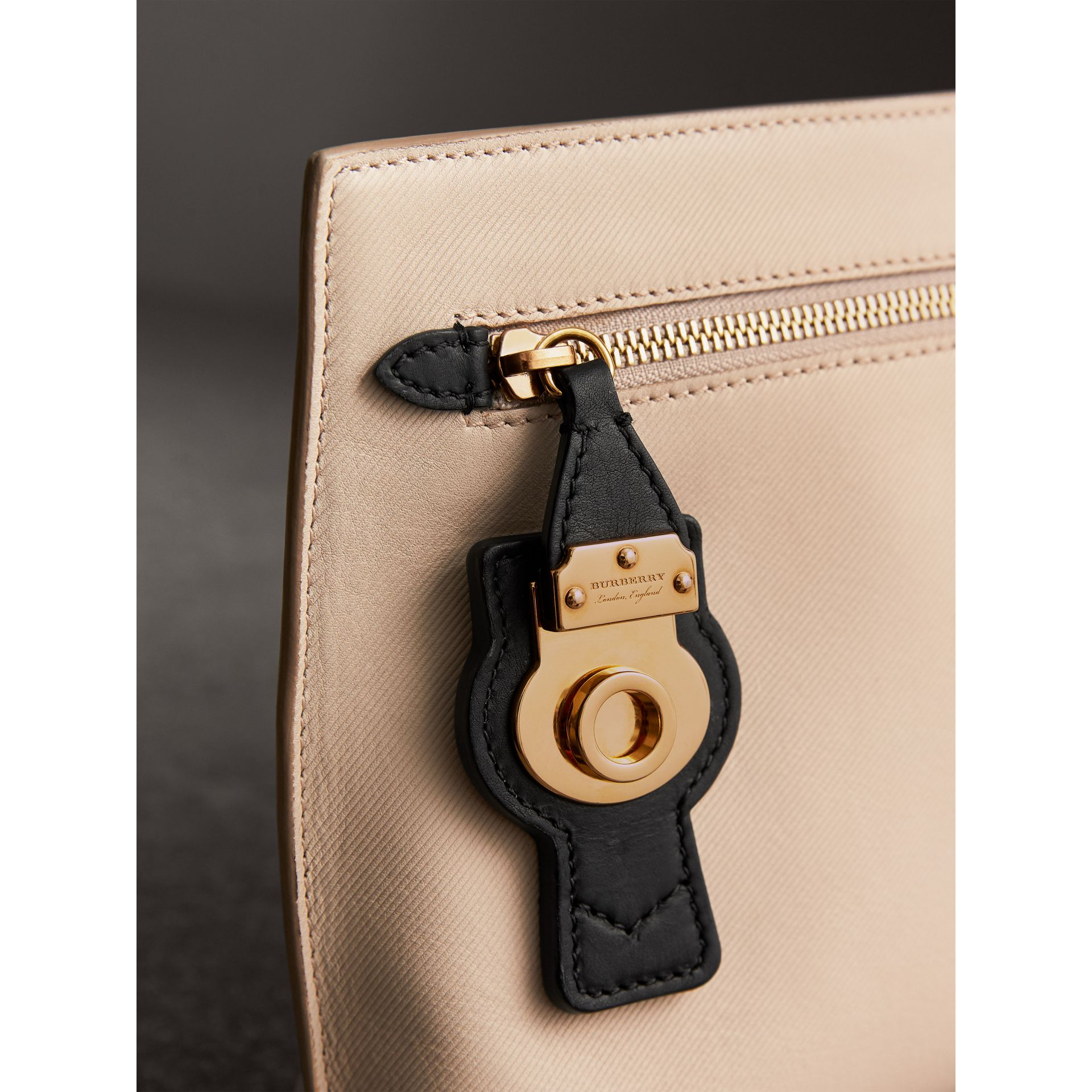 Two-tone Trench Leather Wristlet Pouch in Limestone/black - Women | Burberry United States - gallery image 1