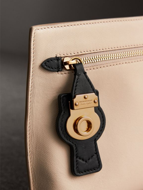 Two-tone Trench Leather Wristlet Pouch in Limestone/black - Women | Burberry United Kingdom - cell image 1