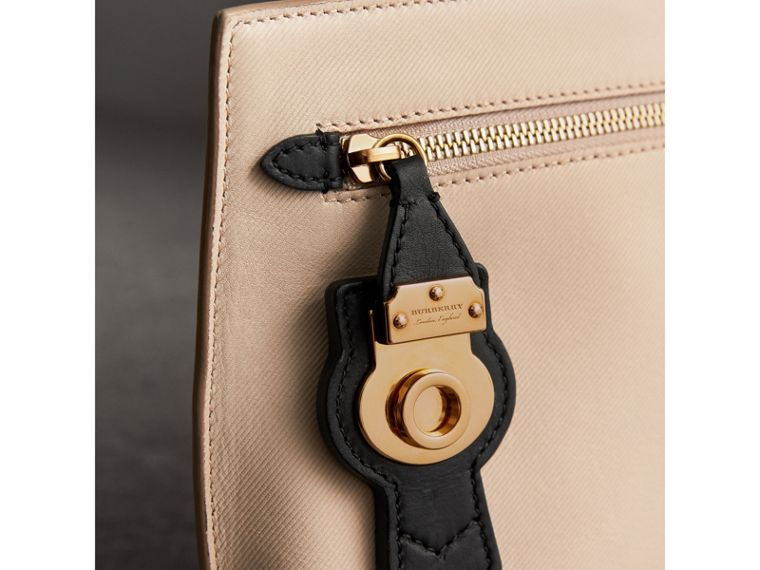 Two-tone Trench Leather Wristlet Pouch in Limestone/black - Women | Burberry - cell image 1