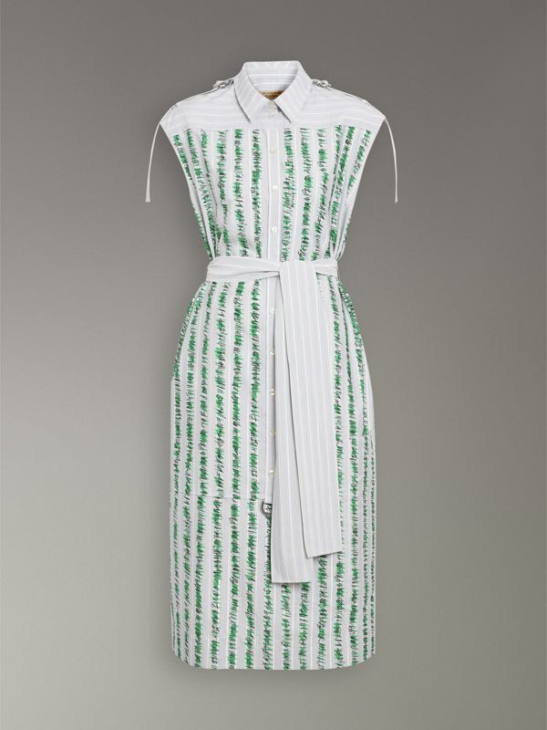 Scribble Stripe Cotton Shirt Dress in Bright Navy - Women | Burberry - cell image 3