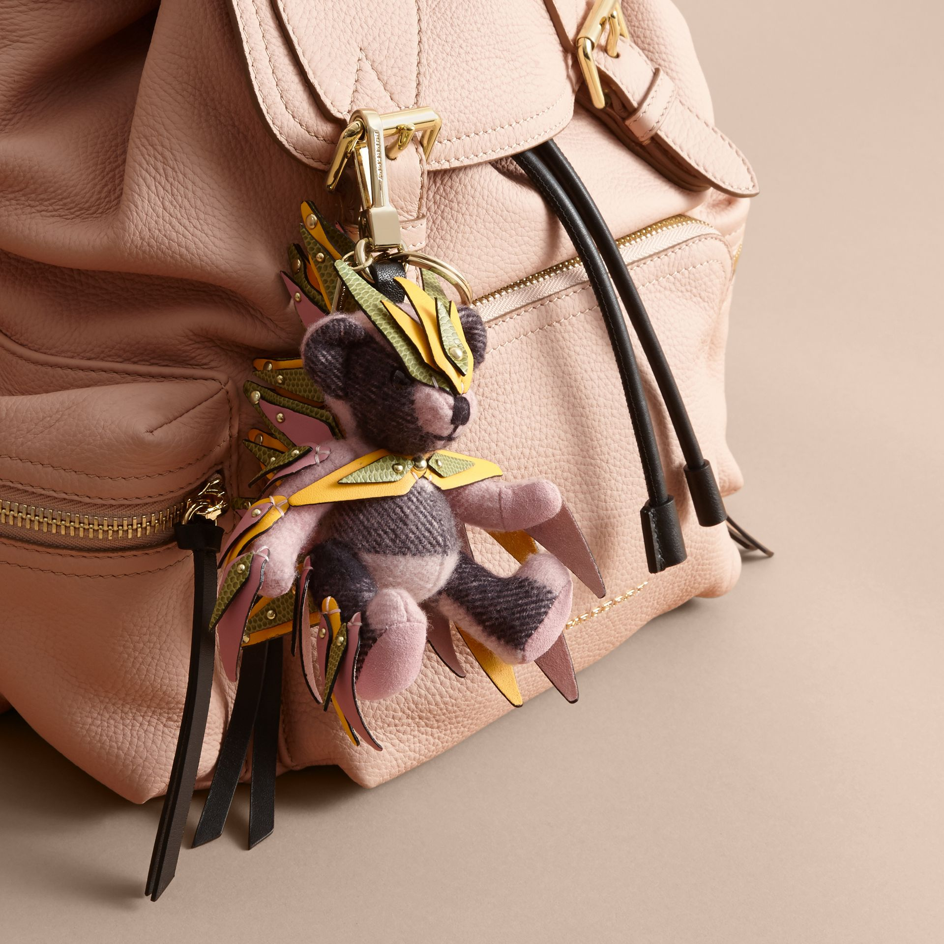 Thomas Bear Charm in Check Cashmere with Beasts Detail in Ash Rose - Women | Burberry - gallery image 3