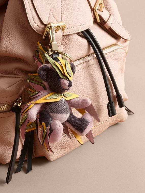Thomas Bear Charm in Check Cashmere with Beasts Detail in Ash Rose - Women | Burberry - cell image 2